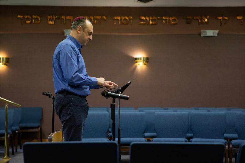 Rabbi Michael Farbman prepares for Sunday School in Orange, Connecticut the day after the Tree of Life synagogue shooting in Pittsburgh.