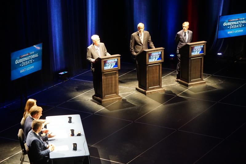 From left, Oz Griebel, Bob Stefanowski, and Ned Lamont at a recent debate at UConn.