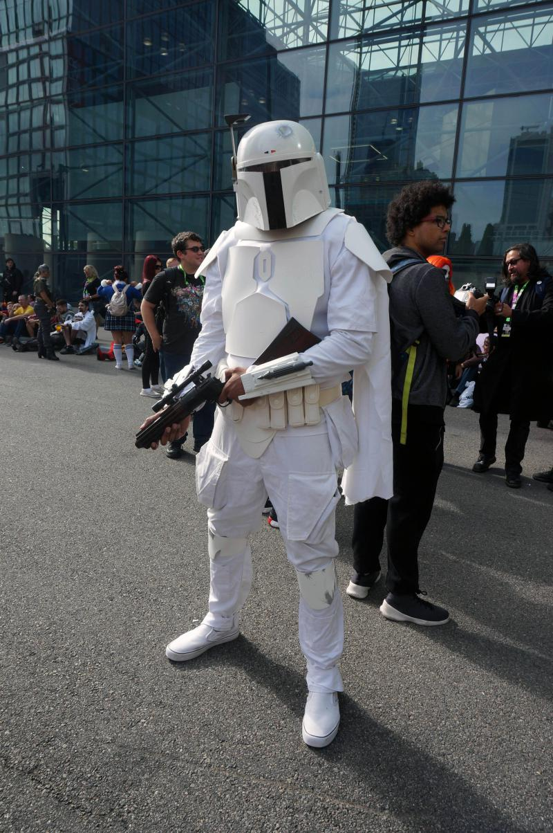 Lucas Goly, dressed as a Star Wars storm trooper at NYCC 2018