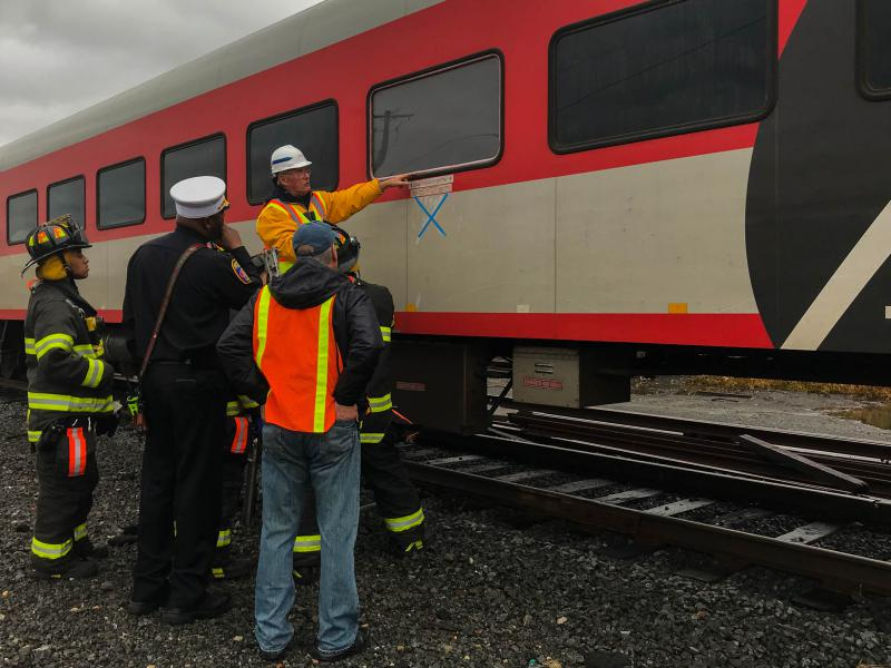 The emergency personnel were shown points of entry so that they could reach passengers in a manner that's quick but safe. That included a demonstration of how to use fire axes to get into the train.