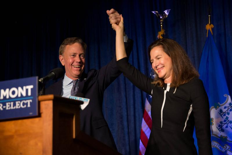 Governor-elect Ned Lamont and Lieutenant Governor-elect Susan Bysiewicz celebrate their victory following Election Day on Nov. 7, 2018.
