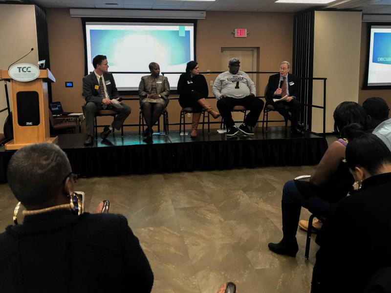 A panel dialogue on mass incarceration in Hartford. From left to right: CCSU's Andrew Clark, Judge Erika Tindill, Ana Maria Rivera-Forastieri of the CT Bail Fund, ACLU Connecticut's Anderson Curtis, and law professor Peter Edelman.