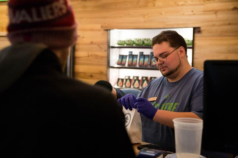 The New England Treatment Access center in Northampton was one of two Massachusetts weed dispensaries that opened up on Tuesday, November 20 to recreational users.