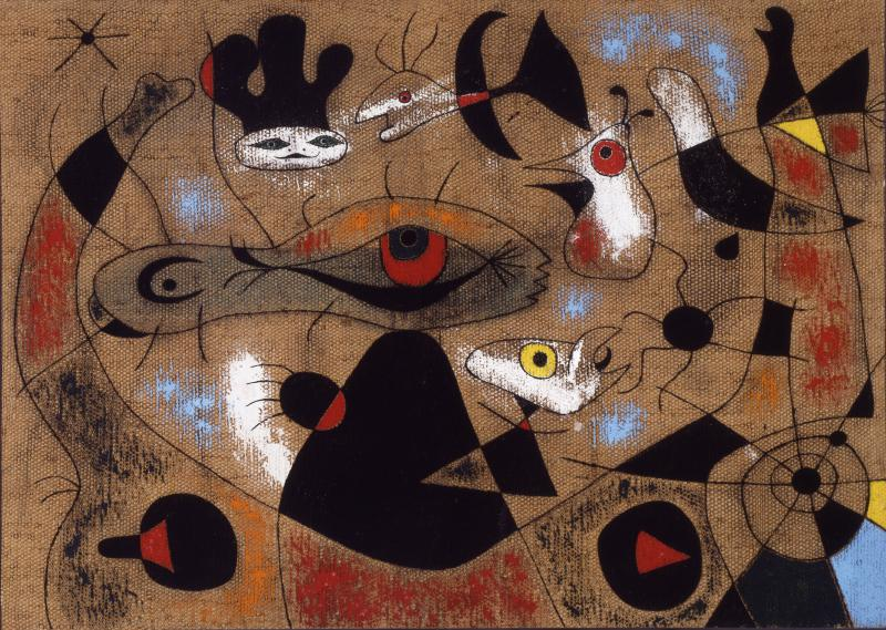 "Joan Miró, ""A Drop of Dew Falling from the Wing of a Bird Awakens Rosalie Asleep in the Shade of a Cobweb,"" 1939. Oil on basketweave fabric."