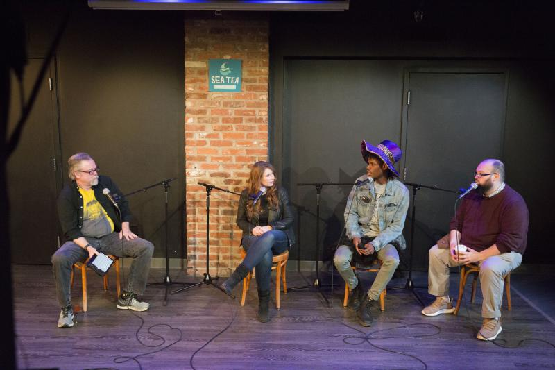 Live (on tape) from the Sea Tea Comedy Theater in Hartford, Conn.: (from left) Colin McEnroe, Carolyn Paine, Shawn Murray, Stosh Mikita.