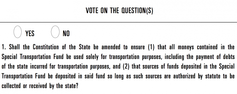 This question is one of two that will be featured on this year's ballots statewide. The 'lockbox' could protect money earmarked for transportation.