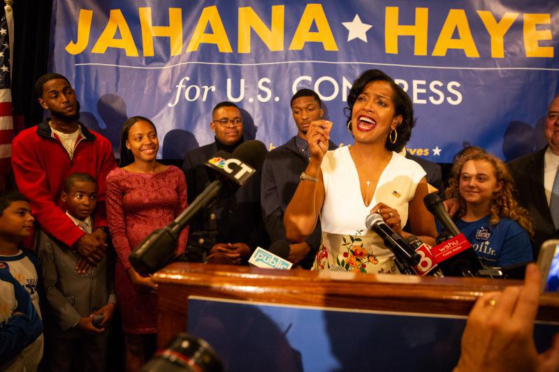 Democrat Jahana Hayes addresses her supporters in Waterbury after declaring victory in her U.S. House race against Republican Manny Santos. Hayes becomes the first black woman elected to Congress in Connecticut.