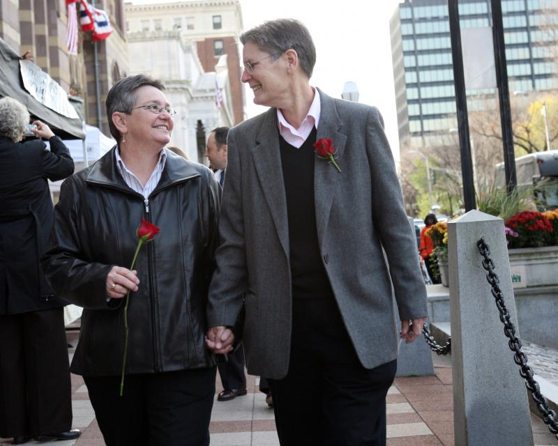 Carol Conklin and Janet Peck outside of New Haven City Hall on November 12, 2008, the first day Connecticut issued marriage licenses to same-sex couples