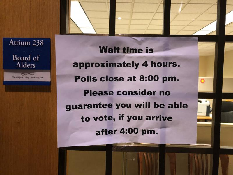 Sign posted in New Haven City Hall on Election Day