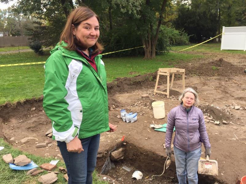 Sarah Portman (left) is the senior archaeologist with the Public Archaeology Survey Team. On the right is Charbra Jestin, president of the Connecticut chapter of the National Society of Colonial Dames of America
