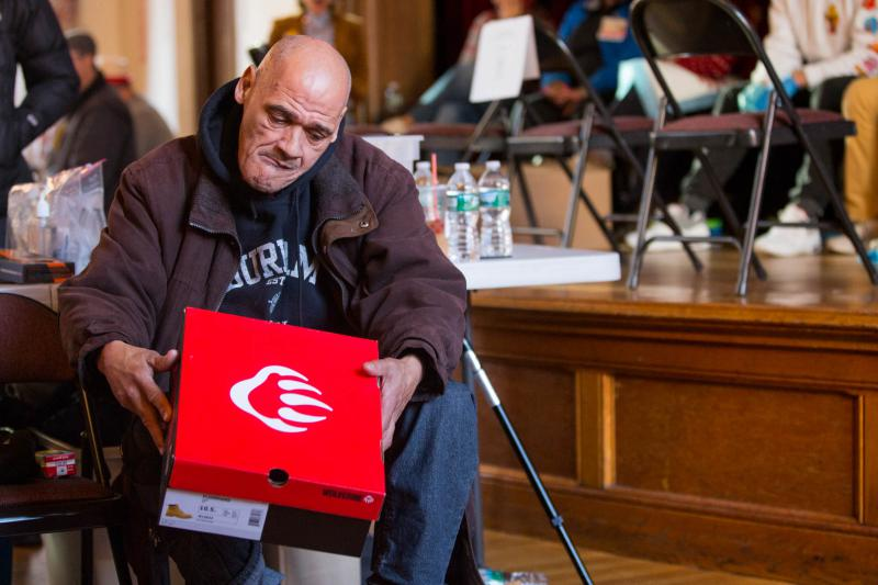 Jimmy Crespo of Hartford received a new pair of Wolverine boots as part of a winter charity effort put together by Footwear With Care. That nonprofit held a 'Winter Boot Party' in Hartford Saturday, December 8, 2018.