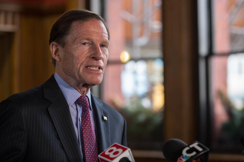 Sen. Richard Blumenthal (D-Conn.) said he'd propose legislation to get Coast Guard members paid during government shutdowns when he spoke from New London's Union Station on Monday, December 31, 2018.
