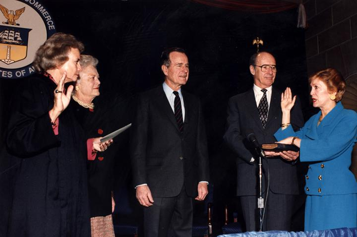 George H.W. Bush nominated Barbara Hackman Franklin, now a Bristol resident, (far right) to be the United States Secretary of Commerce in 1991. She was sworn in on February  27, 1992.