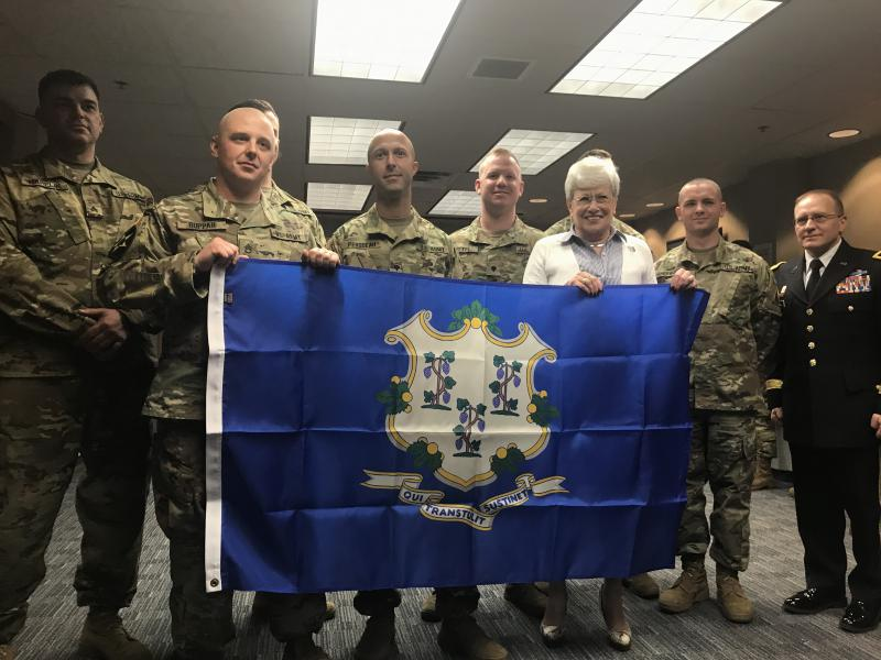 Seventeen national guardsmen from Connecticut are being deployed as part of two separate detachments in Romania and a second undisclosed location. Some of them are pictured here with Connecticut Lt. Gov. Nancy Wyman during a send-off ceremony.