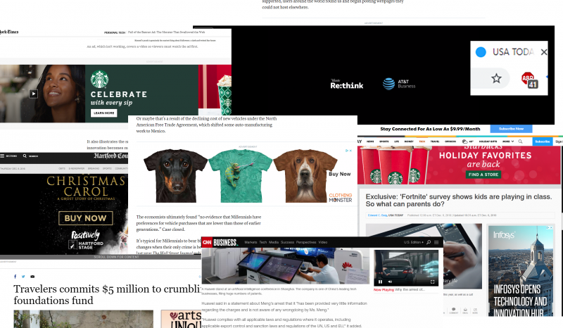 A montage of popup, banner, and autoplay video ads from a variety of news sites