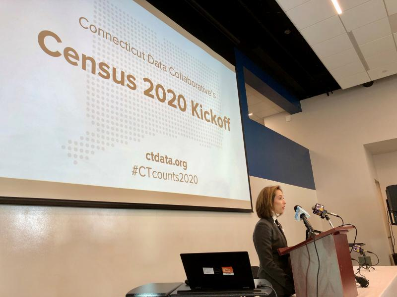 Michelle Riordan-Nold of the Connecticut Data Collaborative talks on Tuesday about areas of Connecticut that were undercounted in the last Census.