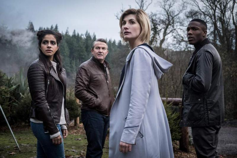 Mandip Gill, Bradley Walsh, Jodie Whittaker, and Tosin Cole on the eleventh series of 'Doctor Who.'