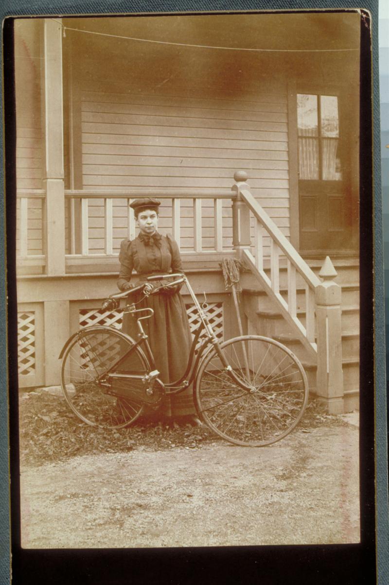 Fannie B. Wildman with the latest bicycle, Danbury 1892.