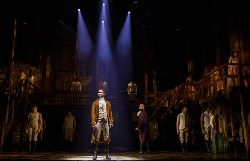 """Austin Scott and company in the """"Angelica tour"""" of 'Hamilton,' now at The Bushnell in Hartford."""