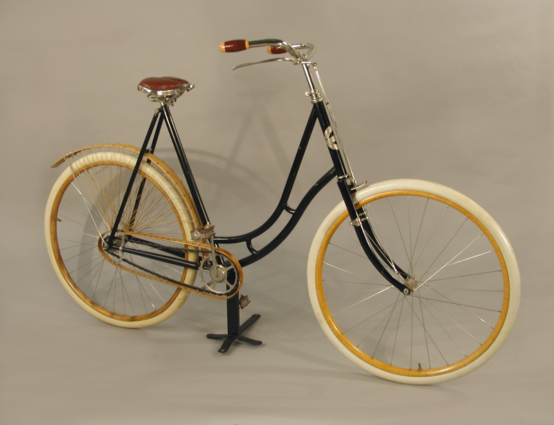"""Woman's Bicycle, Columbia Ladies Model 46 Bicycle, manufactured by Pope Manufacturing Co. in Hartford. An early example of a modern """"safety"""" bicycle."""