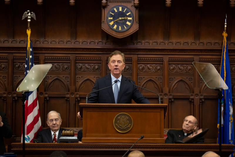 "Governor Ned Lamont gives his ""State of the State""  address to a joint session of the Connecticut General Assembly on Wednesday."