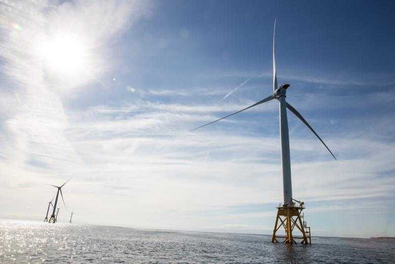 The nation's first off-shore wind farm off the coast of Block Island, Rhode Island in October 2016.
