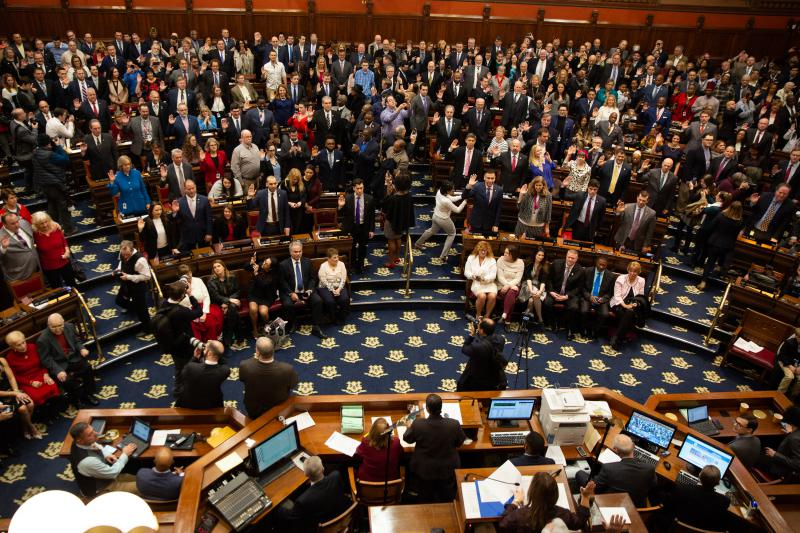 The Connecticut House of Representatives being sworn in on the first day of the 2019 legislative session.