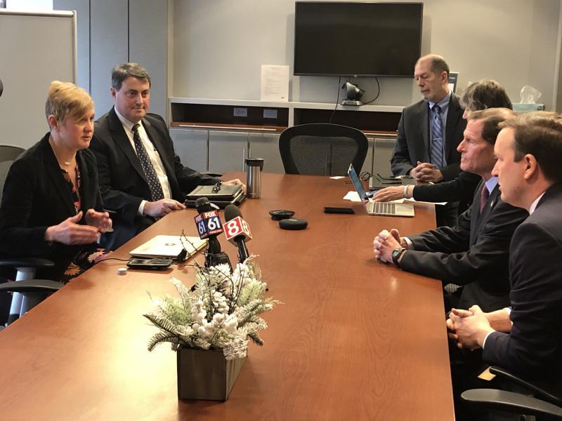 ReNetX Bio, Inc., CEO Erika R. Smith tells Senators Richard Blumenthal and Chris Murphy how goverment shutdown could impact progress on a new drug.