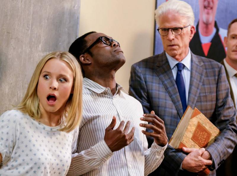 Kristen Bell, Michael Jackson Harper, Ted Danson, and Marc Evan Jackson on 'The Good Place.'