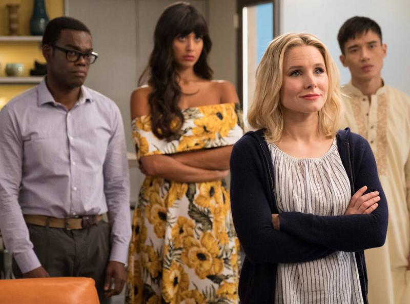 Michael Jackson Harper, Jameela Jamil, Kristen Bell, and Manny Jacinto on 'The Good Place.'