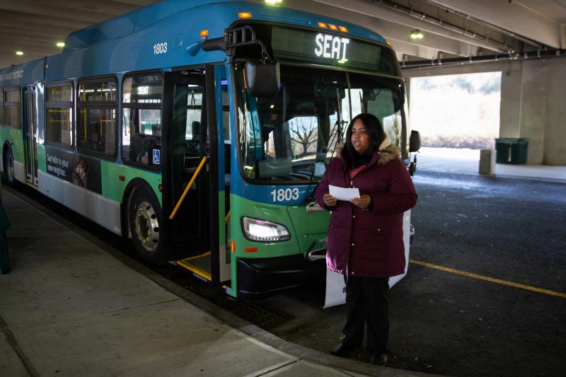 """""""Public transit is a civil right,"""" said Ariana Woody, the oresident of the NAACP of Norwich. Woody, transit union members, and other advocates called for increased accessibility to public transportation Monday, February 4 in Norwich."""