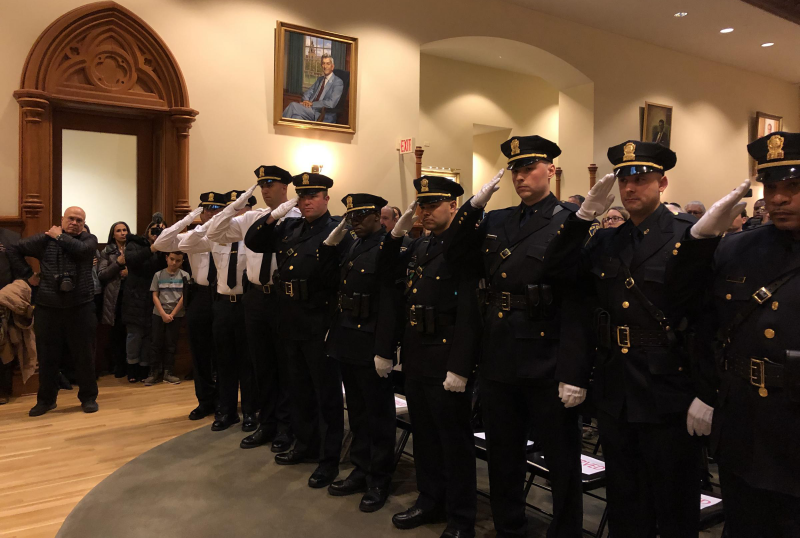 New Haven Police Promotion Ceremony at City Hall.