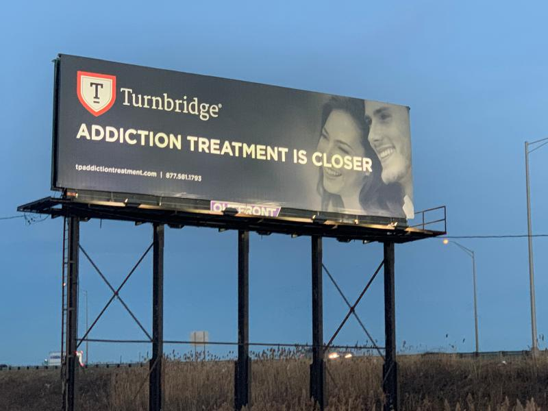 Turnbridge then released this billboard in the days after the Weedmaps one went up. The addiction treatment organization is worried about how this type of messaging could reach people with a genetic predisposition to addiction.