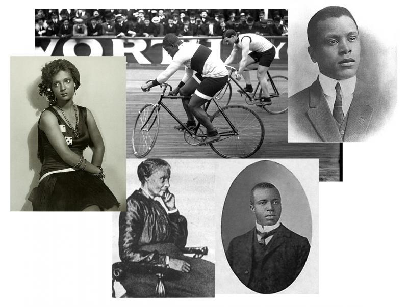 Clockwise from top: Major Taylor, Oscar Micheaux, Scott Joplin, Mary Ellen Pleasant, Nina Mae McKinney