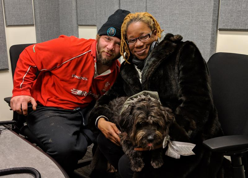 "Sade and Donny, with Donny's service dog Oreo. They're members of the ""Housing Not Jails"" initiative of the Connecticut Bail Fund; they are both residents of New Haven and currently homeless"