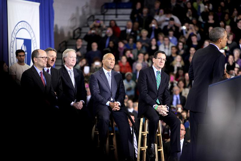 Governors Dannel Malloy of Connecticut, Lincoln Chafee of Rhode Island, Deval Patrick of Massachusetts, and Peter Shumlin of Vermont joined Obama on stage.
