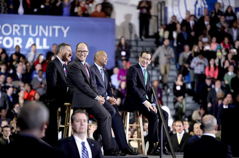 Obama was joined by four governors and Labor Secretary Thomas Perez.