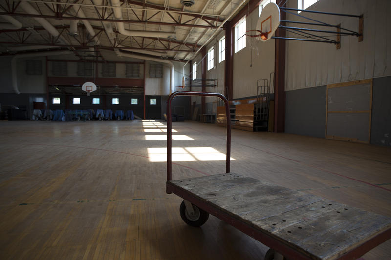 The gymnasium inside the prison.