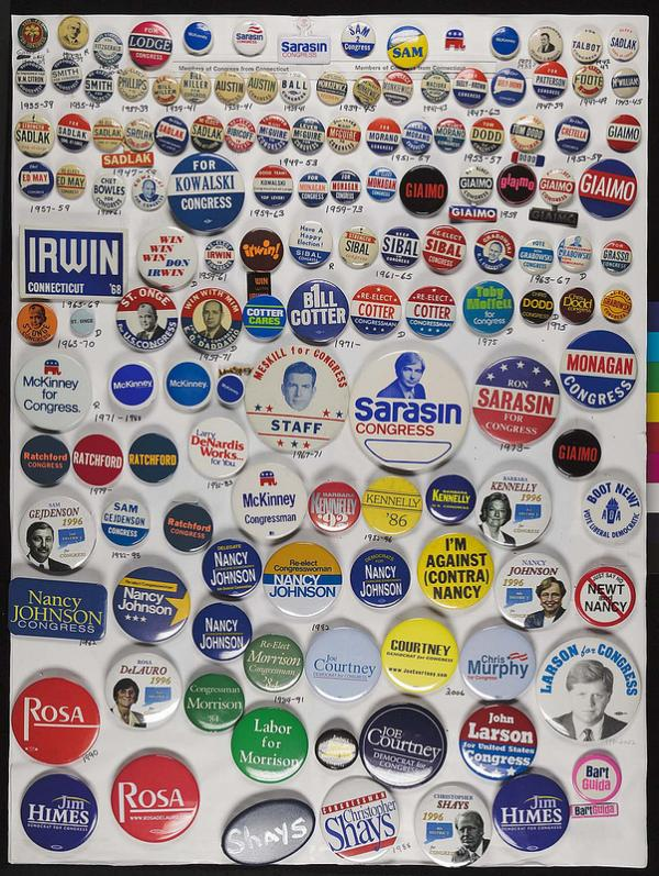 Buttons from Connecticut's congressional delegations.