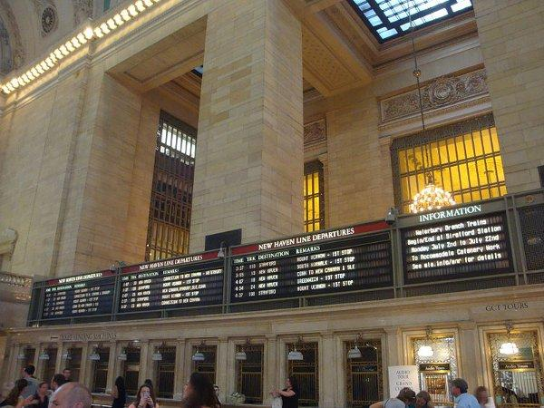 The departures board at Grand Central Station.