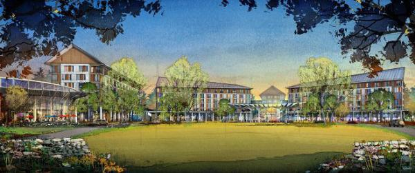 A rendering of the Foxwoods proposed resort casino in Milford, Massachusetts.