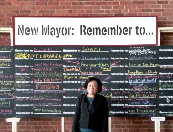New Haven Mayor-elect Toni Harp. Art installation structure by Eric Epstein.