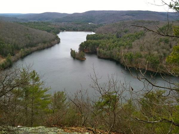 Lake McDonough Reservoir in Connecticut, seen from the Tunxis Trail Overlook Spur in Barkhamsted.