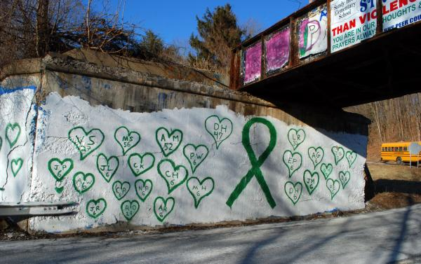 High school students created this Newtown mural memorial.