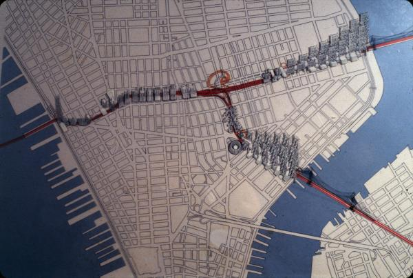 A plan for the Lower Manhattan Expressway in New York City, which was never constructed.