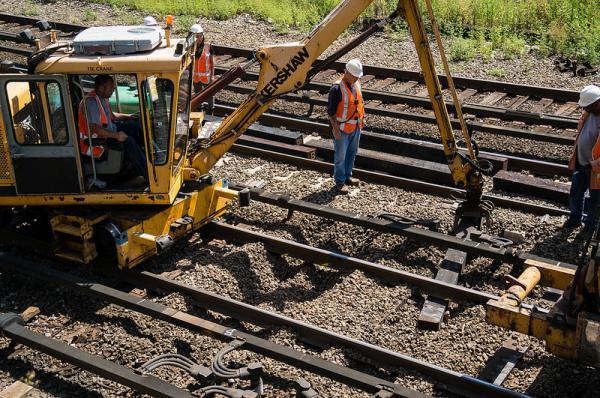 Metro-North crews replace ties and improve drainage along a right-of-way in The Bronx in August 2013.