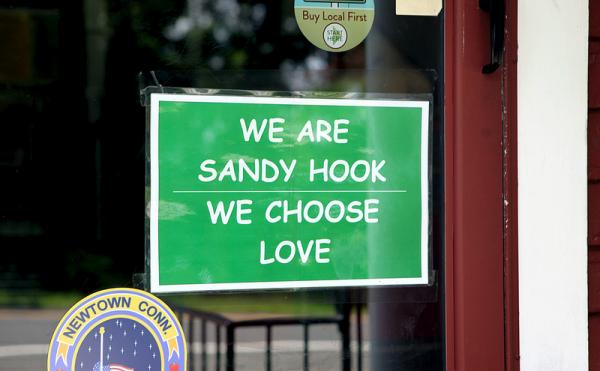 A sign outside the Newtown Bee.