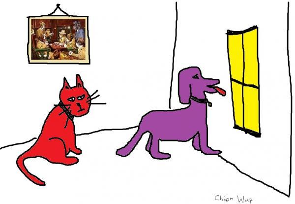 Red Cat Purple Dog
