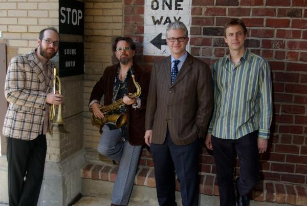 The Matt Wilson Quartet. From left: Kirk Knuffke, Jeff Lederer, Matt Wilson, and Chris Lightcap.