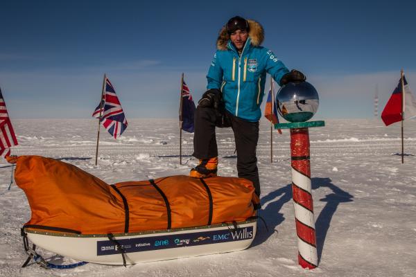 Parker Liautaud arrives at the South Pole.